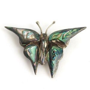 Vintage Butterfly Brooch Sterling Silver Abalone